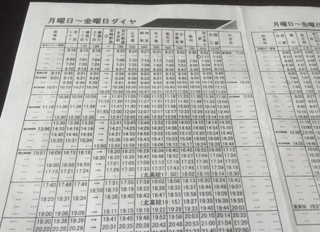 宮崎交通のバスの運賃や時刻表1